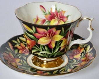 Royal Albert England Provincial Flowers Prairie Lily Bone China Footed Tea Cup and Saucer Set