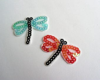Set of 2 applications thermocollante butterflies, dragonflies, blue and red with shiny sequins - 6th ref badges