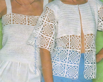 Crochet Pattern PDF Womens Jacket Cardigan Camisole Top Summer
