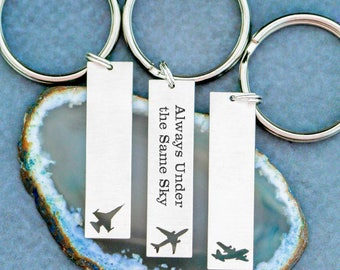 Air Force Gift Airplane Keychain • Military Airplane Pilot Gift Military Wife Pilot Keychain C-130 • Always Under the Same Sky