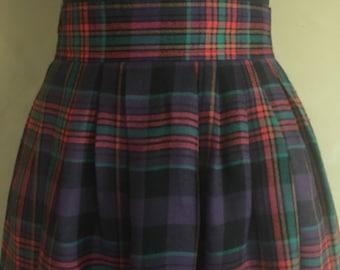 Vintage 80's High Waisted Plaid Skirt