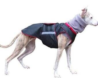 Whippet SoftShell Dog Coat - Red Winter Dog Coat - Custom Dog Raincoat - SoftShell / Fleece coat + turtleneck / snood - MADE TO MEASURE