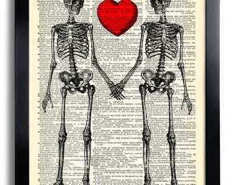 Skeleton Love Heart Love Bones Skull Art Print, Poster Art Dictionary Art Print Wall Decor Vintage Book Page Room Decor Anniversary Gift 191