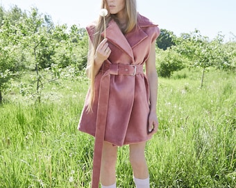 AW18 - Velvet dress - Sleeveless coat - Extraordinary items - Fashin disign - Handmade   Pink coat   Festival style  Fashiom runway