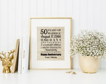 50th Wedding Anniversary Gift For Couple | Art Print | Gift From Kids | Gift For Wife | For Husband  - 55877