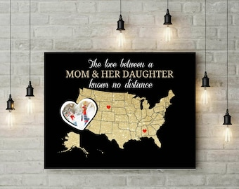 Personalized Gift For Mom | Long Distance Relationship Gift | Map Art Print | Us Long Distance Map - 56877