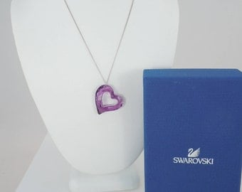 Retired Swarovski Large Crystal Love Heart Pendant Necklace #1087209, Lilac Purple Heart. Swarovski Crystal Heart Necklace