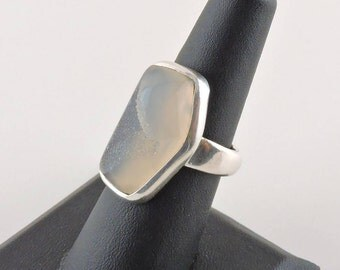 Size 7 Sterling Silver And White Druzy Ring