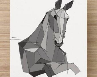 Ink sketch of Horse Sculpture at Burning Man 2015 - Black Rock City, Nevada, Art, Drawing, Sculpture, Digital, 5x7, 8x10, Print