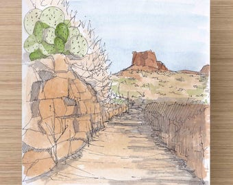 Prickly Pear Cactus along a trail in Big Bend National Park - Butte, Desert, Ink Drawing, Sketch, Watercolor, Art, Pen and Ink, 5x7, 8x10