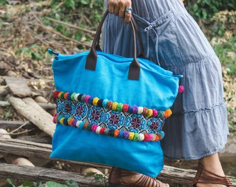 One of a Kind Boho Tote Bag with Vintage Hmong Tribal Embroidered, Pom Pom Beach Tote for Women, Bohemian Shoulder Bag in Blue - BG520VBLU