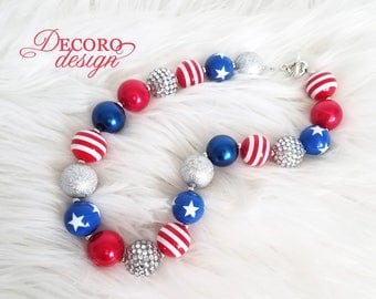 Patriotic, 4th of July, Red White and Blue Girl Necklace, Chunky Necklace, Baby or Toddler Jewelry, Bubblegum Bead Necklace, Gift Necklace