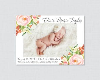 Printable or Printed Floral Birth Announcement Cards - Photo Birth Announcements with Pink Flowers, Horizontal/Landscape Photo BA22