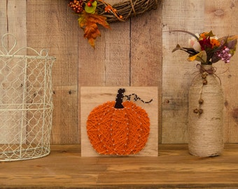 Pumpkin Decor - Fall Decor - String Art - Rustic Fall Decor - Halloween Decor - Autumn Decor - Farmhouse Decor - Country Decor - Wood Decor