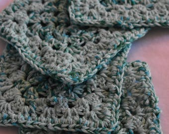 Teal & Soft Blue-green Square Crochet Coaster Set -- Set of 4 Teal and Sea-foam Green Handmade Coasters