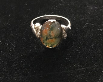 Vintage Moss Agate Sterling Silver Ring Sz 6.5