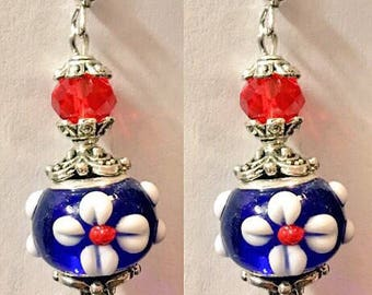Cobalt Blue and red lampwork earrings,murano lampwork earrings