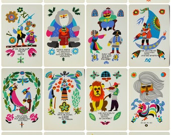 Polish Folk Tales and Legends - Illustrator V. Tereschenko - Set of 16 Vintage Soviet Postcards 1978. Fairy tale Cyrillic Alphabet Art Print