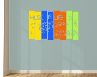Design Divils Customisable Music Is Life Wall Art Panel Music Decal.
