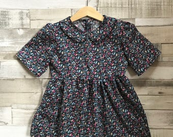 Navy Floral Print Girls Dress - Floral Pattern Dress - Girls Dress - Baby Girls Dress - Peter Pan Collar Dress - Girls First Birthday Outfit