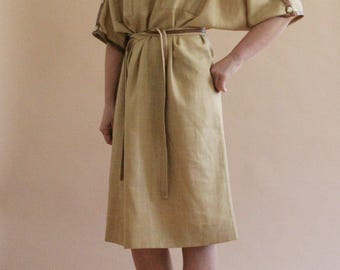 80s/90s ocher oversized linen dress with faux snakeskin details