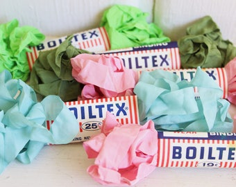 Vintage Seam Binding Ribbon Crinkly PINK BLUE GREEN Boiltex 1950's - 15 Yards