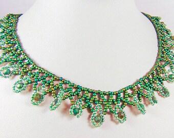 SEED BEAD NECKLACE, seed bead jewelry, green necklace, green jewelry, green crystals,silver toggle, toggle clasp,choker, green choker - 2038