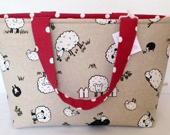 Tote Bag, Sheep & Red Dotty Zippered Bag, Medium Tote Bag, Knitting Bag, Craft Bag, Crochet Bag, Baby Bag, Overnight Bag, Shopping Bag
