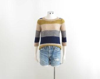 Esprit Striped Sweater Mohair Sweater Fuzzy Sweater Womens Stripe Sweater Beige Pullover Sweater Crewneck Jumper Three Quarter Sleeve XS