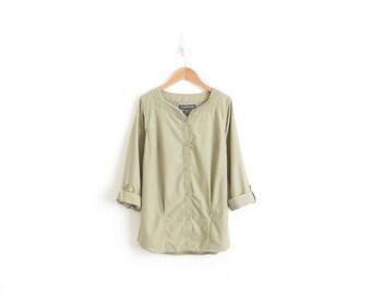 Olive Green Tunic Shirt Womens Tunic Top Summer Shirt Long Sleeve Tunic Button Up Shirt Bohemian Top Button Down Boho Blouse Hippie Shirt XS