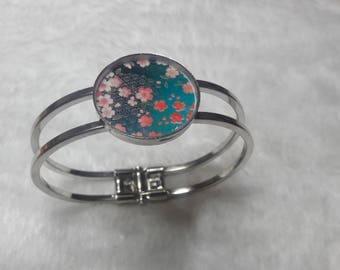 Turquoise Sakura flower silver Bangle Bracelet