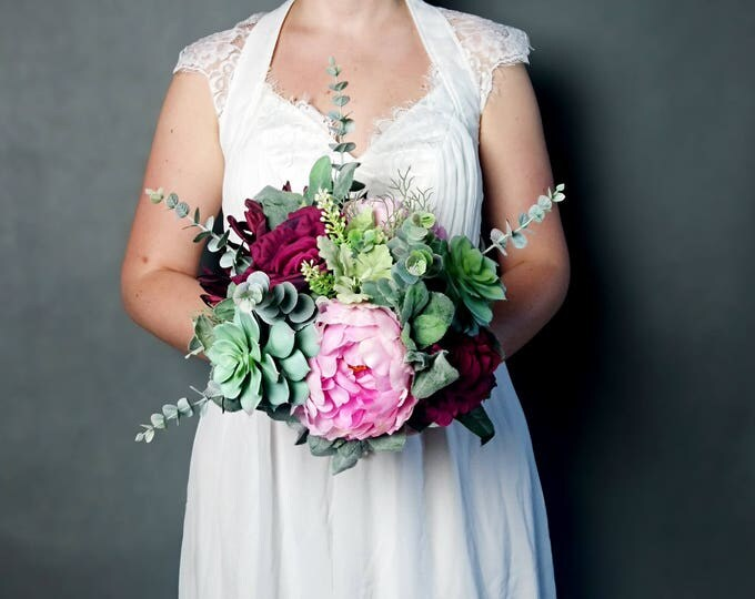 Large wedding bouquet realistic silk flowers marsala wine burgundy pink green succulents dusty miller greenery roses peony eucalyptus boho