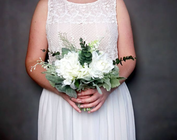 Realistic medium wedding bouquet silk flowers dusty miller flocked leafs greenery roses hydrangea eucalyptus ivory elegant bridesmaid toss