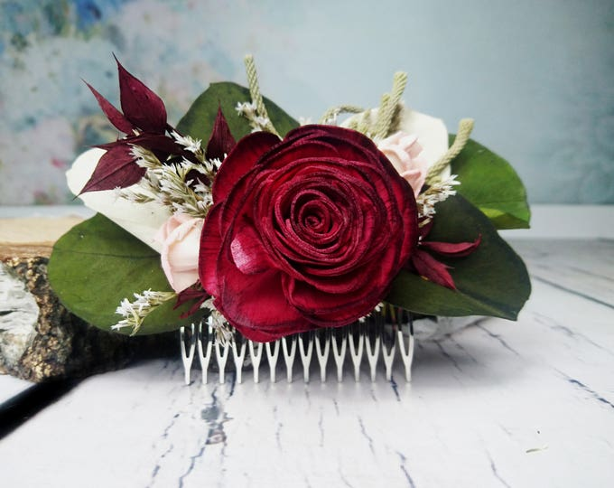 Burgundy and blush pink boho wedding HAIR COMB with Sola rose, eucalyptus and brunia berry