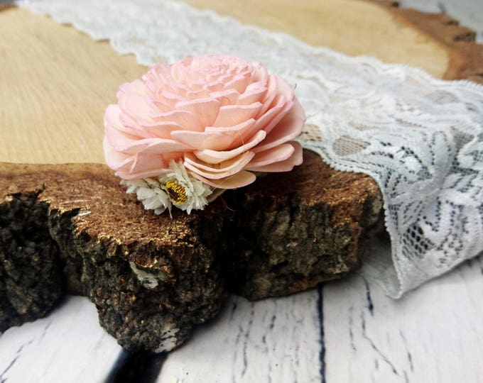 Blush pink sola flower hair clip pin white Dried flowers rustic wedding flower girl bride hairpiece simple delicate small