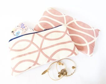 MAUVE & IVORY POUCH. Cute Travel Pouch. Cute Travel Wallet. Small Purse Organizer. Cute Gift Idea. Small Friend Gift. Cute Makeup Pouch.