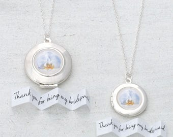Orchid Necklace, Orchid Locket, Bridesmaid Necklace, Bridal Locket, Wedding Jewelry, Personalized Locket, Personalised Wedding, Gift for Her
