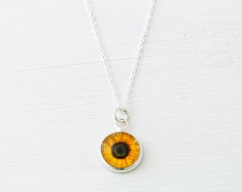Sunflower Necklace, Flower Necklace, Sunflower Jewelry, Sunflower Wedding, Tiny Necklace, Delicate Necklace, Gift for Her, Sunflower Charm