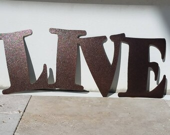 Metal Live Sign - Metal Letters - Metal Wall Art - Live Laugh Love - Outdoor Decor - Home Decor - Word Art - Quote Set - Wall Art Metal