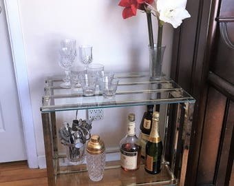 Vintage Two Tier Brass and Glass Bar Cart, Tea Trolley, Serving Cart circa 1960s