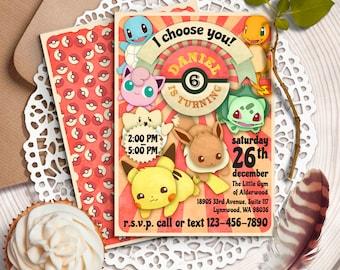 Pokemon Birthday Invitation, Pokemon Invitation, Pokemon Birthday Party, Pokemon Printables, Pokemons, Pokemon invitations