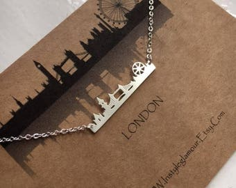 London Skyline Necklace, Paris Skyline Necklace, Newyork Skyline Necklace, Sydney Skyline Necklace, Christmas Gift,Mothers Day Gift