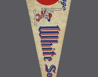 """1960s Chicago White Sox Vintage Large Felt MLB Baseball Team Souvenir 30"""" Flag Full Size"""