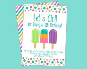 Let's Chill Summer Birthday Party Invitation. Ice Pop, Summer, Pool Party Invitation. Digital Invitation Set.