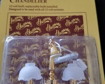 Scale 1/12 Houseworks Double Forsted Tulip Chandelier Miniature Dollhouse Lighting #2726 Miniature Dollhouse Chandelier Dollhouse Lighting