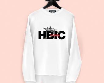 HBIC Sweatshirt - Head B#tch In Charge - Vintage Crown Illustration - Streetwear - S, M, L, XL, XXL | Made to Order |