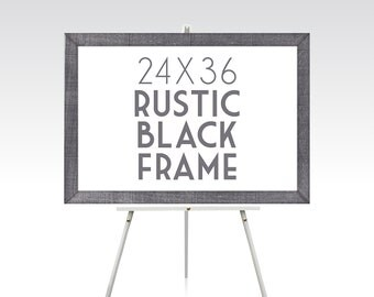 24 x 36 RUSTIC BLACK FRAME . Solid Pine Wood Wedding Stain Colors White Brown Green Red Grey Ready to Hang Hardware . Sizes 5 x 7 to 30 x 40