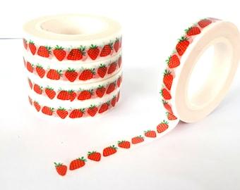 Strawberry skinny washi tape | strawberries | slim washi | thin masking tape | fruit