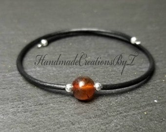 Amber Bracelet, Natural Baltic Amber Bracelet, Silver, Womens, Simple Cuff Style Jewelry