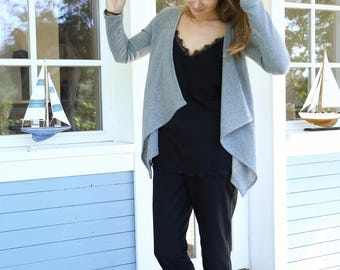 Merino Wool Cardigan | Wool  Sweater | Women Sweater | Winter Jacket | Grey Cardigan | Elegant Sweater | French Style | Office Jacket